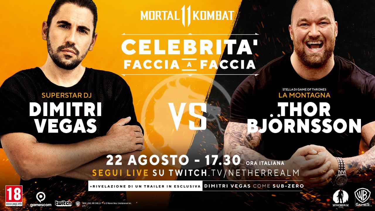 Mortal Kombat 11 - Il DJ Dimitri Vegas e 'La Montagna' di Game of Thrones in un testa a testa a Gamescom 2019