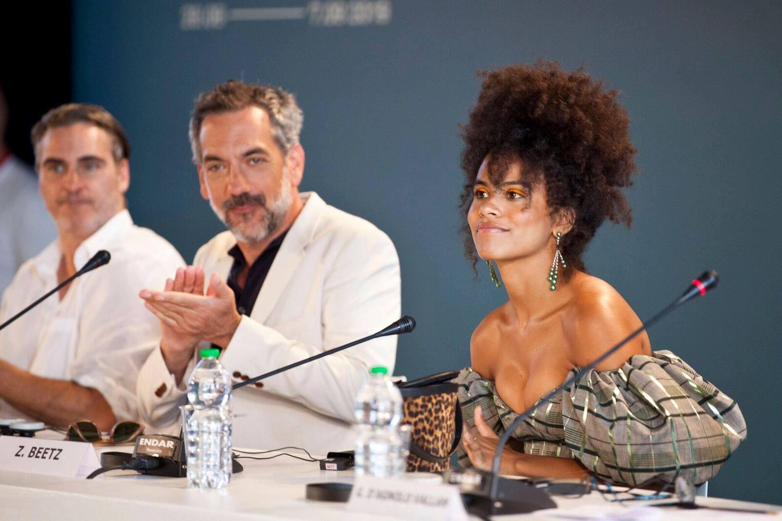 Joaquin Phoenix Zazie Beetz e Todd Phillips Conferenza Stampa per Joker film in concorso al Festival del cinema di Venezia 8